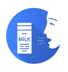 Milk allergy flat design long shadow glyph icon vector