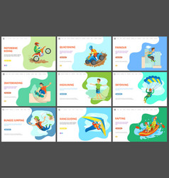 motorbike and quad biking parkour and rafting vector image