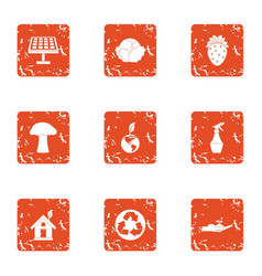 Nature advocacy icons set grunge style vector