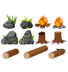 Nature elements with rocks and woods vector