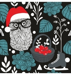 Night owl seamless pattern for Christmas vector