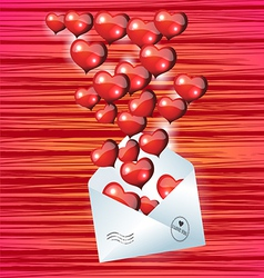 Open envelope with red heart on valentines day vector