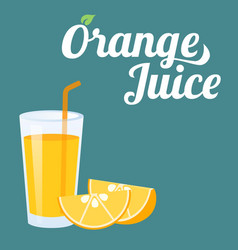 orange juice and orange slice vector image