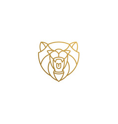 Outline icon roaring bear hand drawn with thin vector