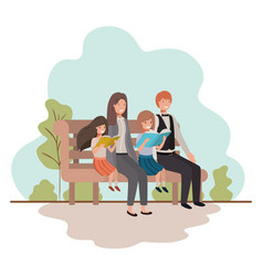 parents couple with daugether sitting in park vector image