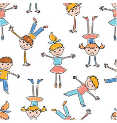 pattern of the cheerful cartoon kids vector image