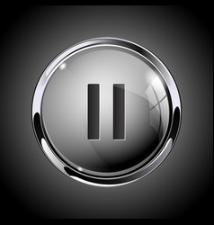 Pause button 3d shiny gray icon for media vector