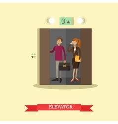 People in elevator flat vector