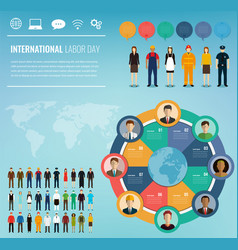 People of different occupations with infographics vector
