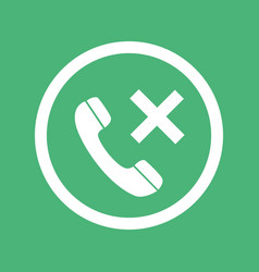 phone icon with cross sign isolated on green vector image