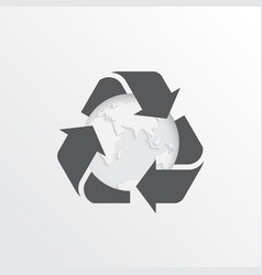 Recycling arrows with earth planet vector