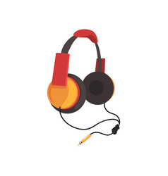 Red and yellow headphones with headband and vector