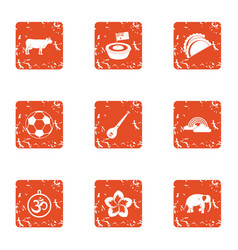 Rehearsal icons set grunge style vector