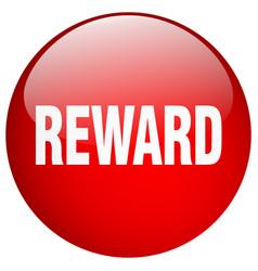 Reward red round gel isolated push button vector
