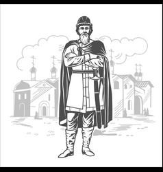 Russian prince tsar warrior vector