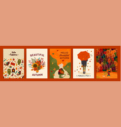 set cute autumn templates vector image