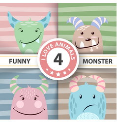 set cute monster four items vector image