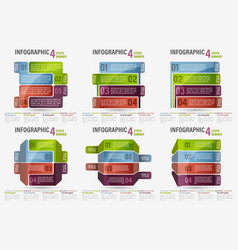 Set of abstract business four steps infographic vector
