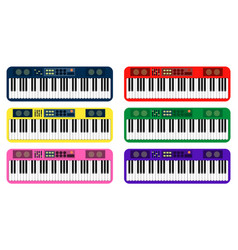 Set of color flat style piano roll analog vector