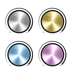 Set of Realistic control the music knob volume vector