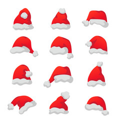 set of red santa claus caps vector image