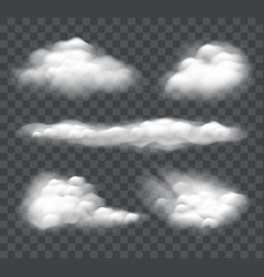 set realistic cloud isolated on dark background vector image
