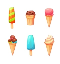 set with flat ice creams icons vector image