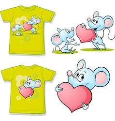 Shirt with cute mouses in love cartoon vector