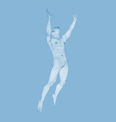 Silhouette of a jumping man 3d model of man human vector