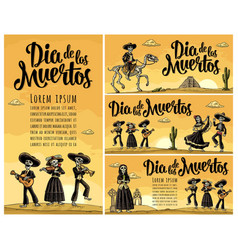 Skeleton mexican costumes dance and play the vector