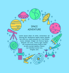 space theme round concept banner in line style vector image