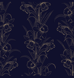 spring flowers fabric seamless pattern on dark vector image
