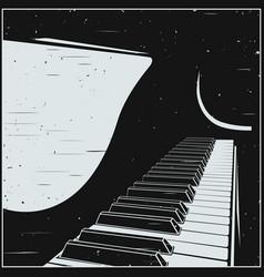 Stylized grand piano in retro style vector