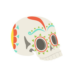 sugar skull skull with floral ornament vector image
