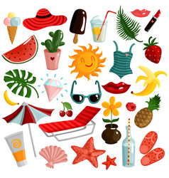 Summer accessories set vector