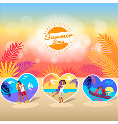 summer love time banner with photos of couple vector image