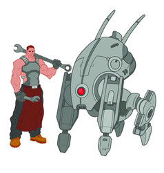 tall muscular mechanic standing next to the four vector image