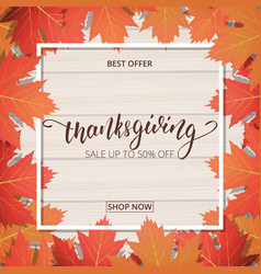 thanksgiving day sale banner hand lettering on vector image