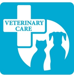 veterinariry care icon with dog and cat vector image