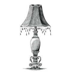 Vintage bedroom lamp hand drawing engraving vector