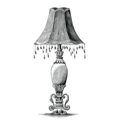 vintage bedroom lamp hand drawing engraving vector image