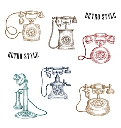 Vintage sketched handle telephone icons vector