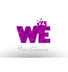 We w e dots letter logo with purple bubbles vector