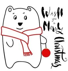 White bear holding Christmas ball vector
