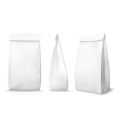 White paper food bag blank snack product vector