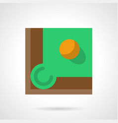 Yellow billiard ball flat square icon vector