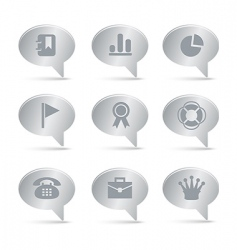 04 silver bubbles office icons vector image vector image