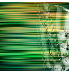 abstract green blur background with saxophone vector image vector image