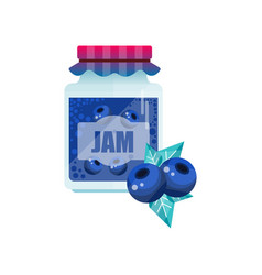 blueberry jam glass jar of berry confiture vector image vector image