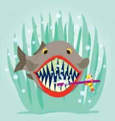 Cartoon fish clean teeth vector
